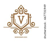 monogram logo template with...   Shutterstock .eps vector #667731949