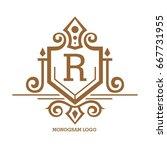 monogram logo template with...   Shutterstock .eps vector #667731955