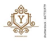 monogram logo template with...   Shutterstock .eps vector #667731979