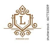 monogram logo template with...   Shutterstock .eps vector #667732009