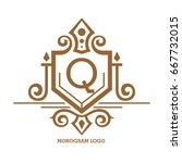 monogram logo template with...   Shutterstock .eps vector #667732015