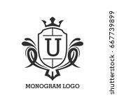 monogram logo template with...   Shutterstock .eps vector #667739899