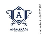 monogram logo template with...   Shutterstock .eps vector #667739935