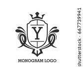 monogram logo template with...   Shutterstock .eps vector #667739941