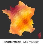 the france map of polygonal... | Shutterstock .eps vector #667740859