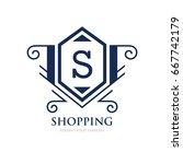 monogram logo template with...   Shutterstock .eps vector #667742179