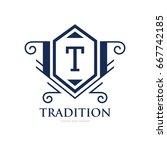 monogram logo template with...   Shutterstock .eps vector #667742185