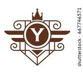 monogram logo template with...   Shutterstock .eps vector #667746571