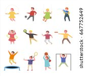 cute children play exercise... | Shutterstock .eps vector #667752649