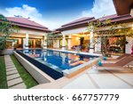 luxury exterior design pool... | Shutterstock . vector #667757779