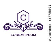monogram logo template with...   Shutterstock .eps vector #667758931