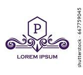 monogram logo template with...   Shutterstock .eps vector #667759045