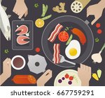 top view cooking table vector... | Shutterstock .eps vector #667759291