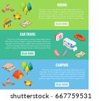 travel web banner. camping... | Shutterstock .eps vector #667759531