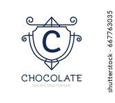 monogram logo template with...   Shutterstock .eps vector #667763035