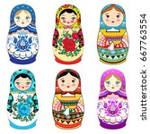 russian doll matrioshka with... | Shutterstock .eps vector #667763554