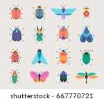 bugs  insects  butterfly ... | Shutterstock .eps vector #667770721
