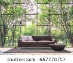 modern living room with garden... | Shutterstock . vector #667770757