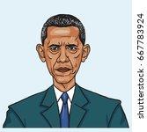 barack obama. vector caricature ... | Shutterstock .eps vector #667783924