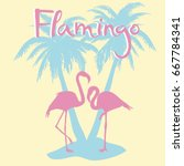 flamingo silhouette  vector ... | Shutterstock .eps vector #667784341