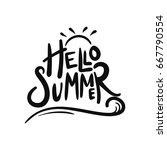 hello summer typography with... | Shutterstock .eps vector #667790554