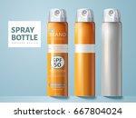 three spray bottles  two blank...   Shutterstock .eps vector #667804024