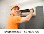 air conditioning technician | Shutterstock . vector #667809721