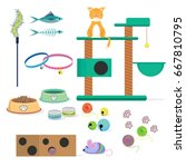 cat toys collection cat stuff... | Shutterstock .eps vector #667810795