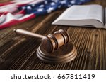 gavel on bible. american flag