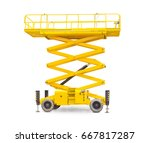 yellow scissor wheeled lift on... | Shutterstock . vector #667817287