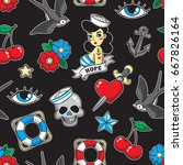 old school seamless pattern... | Shutterstock .eps vector #667826164