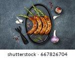 grilled homemade rosemary... | Shutterstock . vector #667826704