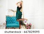 fashion photo of a beautiful... | Shutterstock . vector #667829095