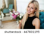 beautiful young woman in nice... | Shutterstock . vector #667831195