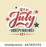 hand sketched text 'happy 4th... | Shutterstock .eps vector #667835191
