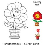 funny smiling flower in a... | Shutterstock .eps vector #667841845