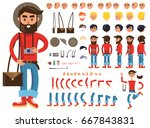 man constructor with photograph ... | Shutterstock . vector #667843831