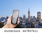 mobile phone with modern... | Shutterstock . vector #667847611