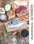 food sources of zinc | Shutterstock . vector #667848055