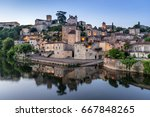 puy l eveque on the lot river... | Shutterstock . vector #667848265