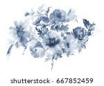 flowers watercolor illustration.... | Shutterstock . vector #667852459