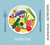vegetables  fruits and berries... | Shutterstock .eps vector #667853545
