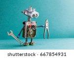 electrician robot handyman... | Shutterstock . vector #667854931
