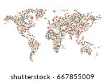 dotted world map   abstract... | Shutterstock .eps vector #667855009