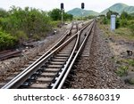 junction of railway track with... | Shutterstock . vector #667860319