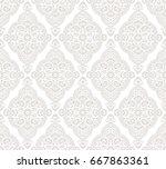 seamless floral damask wallpaper | Shutterstock .eps vector #667863361