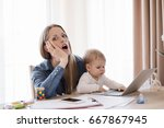 mother in horror working from... | Shutterstock . vector #667867945