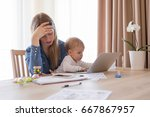 tired working mom with child in ... | Shutterstock . vector #667867957