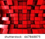 red wall cube blocks background.... | Shutterstock . vector #667868875