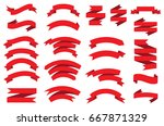 ribbon banner set.vector red... | Shutterstock .eps vector #667871329